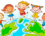 Five happy jumping kids round the globe, no gradients